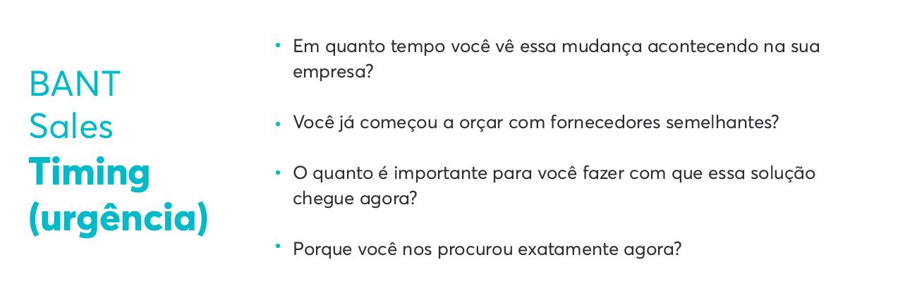 Exemplos de perguntas de Urgência em BANT