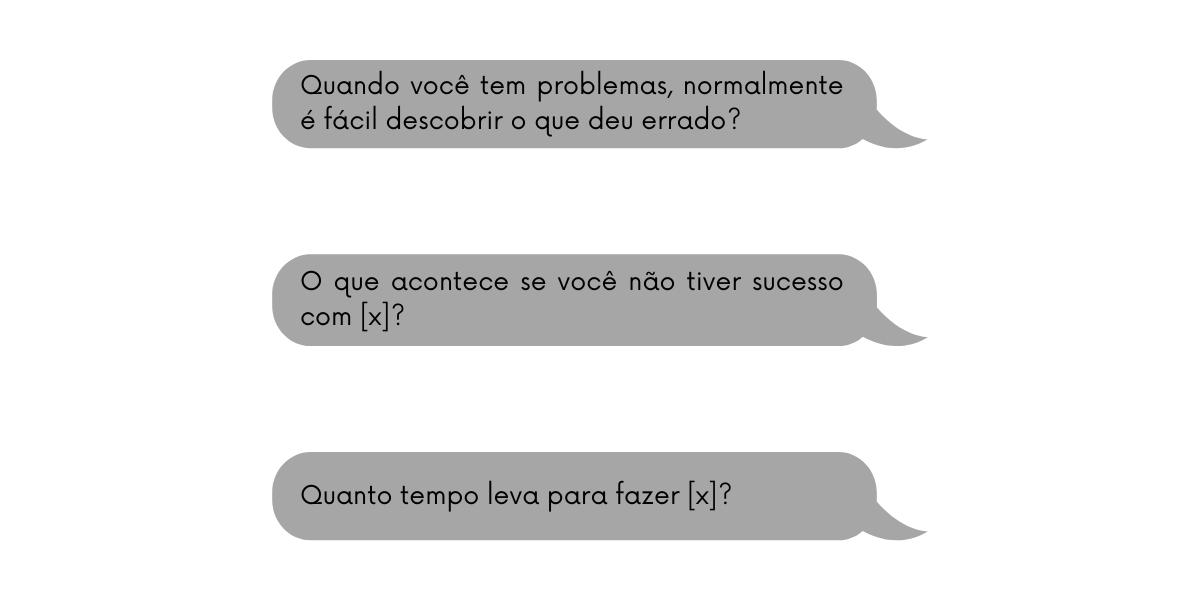 Exemplos de perguntas que visam mostrar para o potencial cliente os diferentes problemas que sua solução resolve.