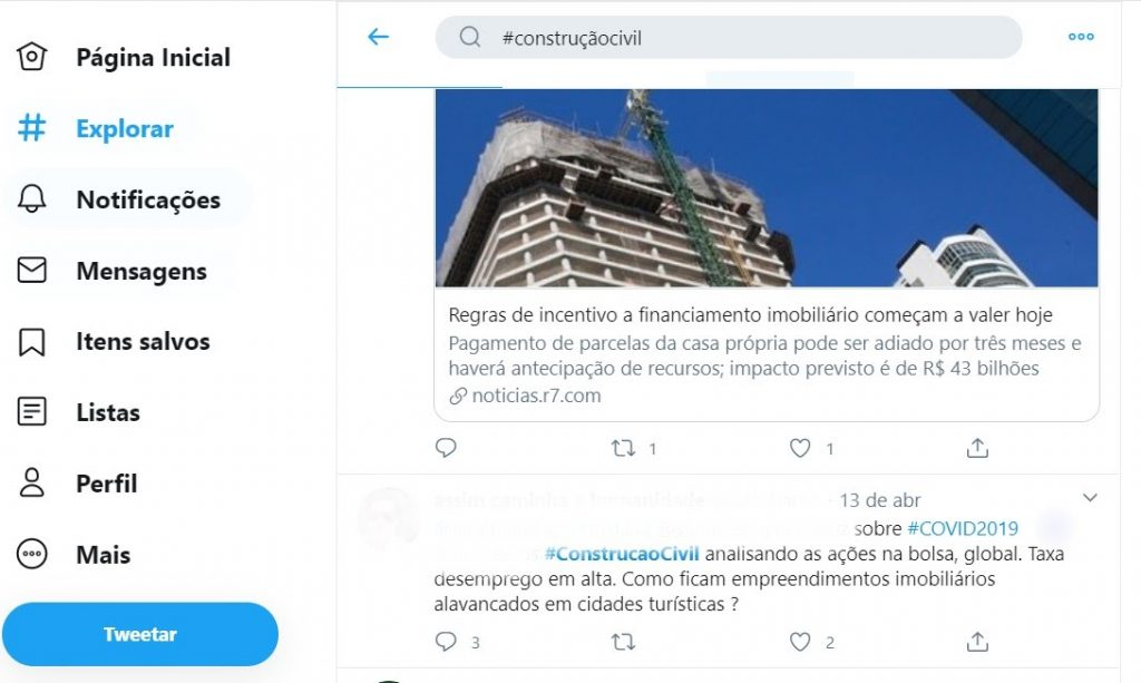 No Twitter, pesquise por hashtags relacionadas ao segmento dos clientes para descobrir suas dores