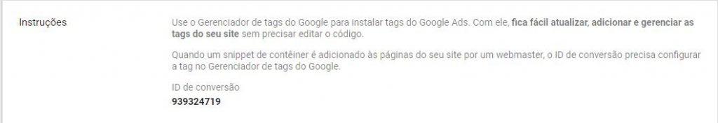 Usando o gerenciador de anúncios para configurar a tag do Google Ads