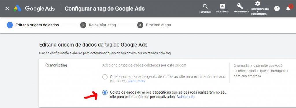 Criando a tag para remarketing no Google Ads