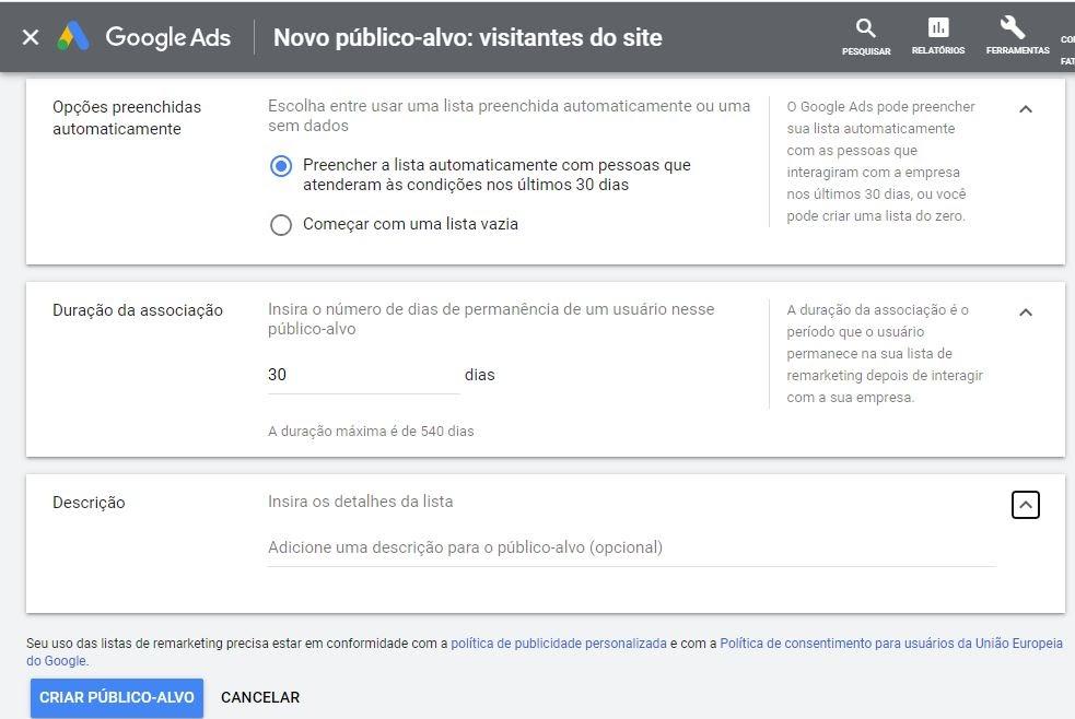 Criando novo público-alvo para remarketing no Google Ads