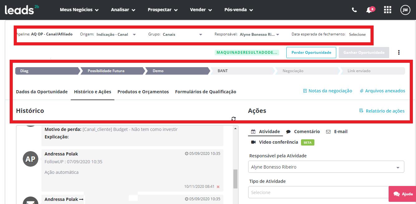 Com a plataforma comercial da Leads2b, você pode gerenciar as anotações no histórico do cliente, avaliando se os conceitos trabalhados no treinamento de vendas realmente foi posto em prática