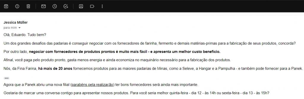 Exemplo de cold mail para captação de clientes (padarias)