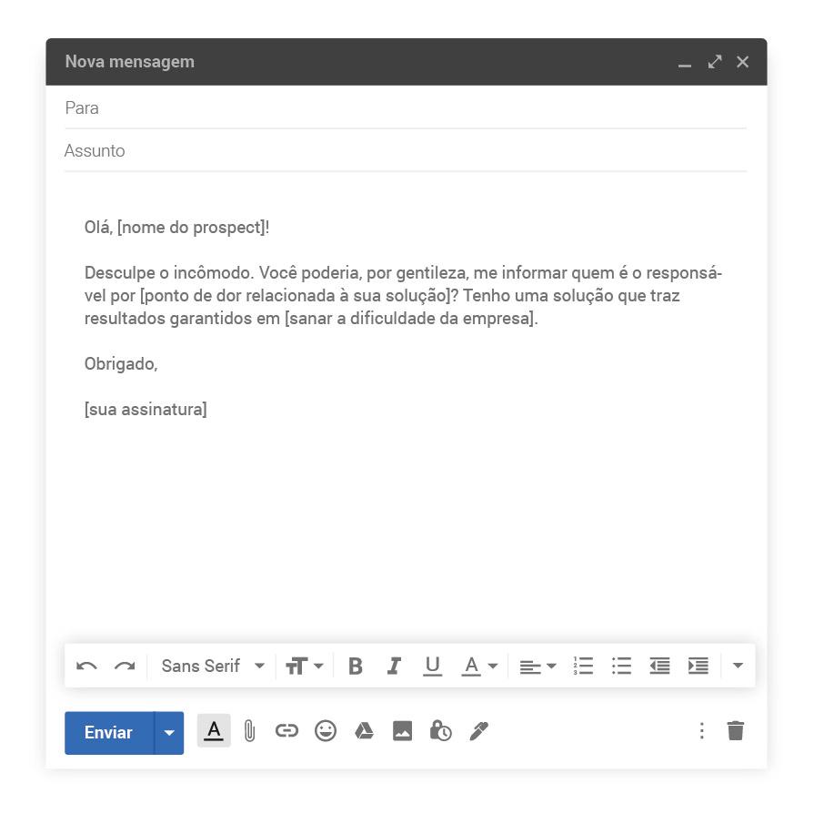 Exemplo de e-mail inicial do cold calling 2.0 para prospect