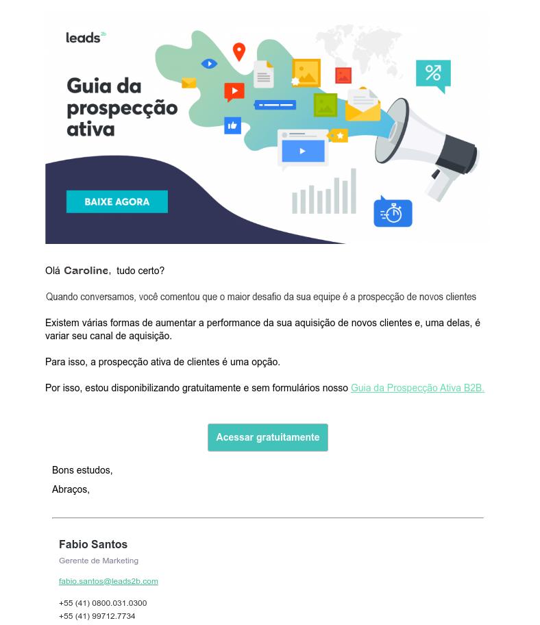 """Exemplo de chamada para a ação no botão """"Acessar gratuitamente"""""""