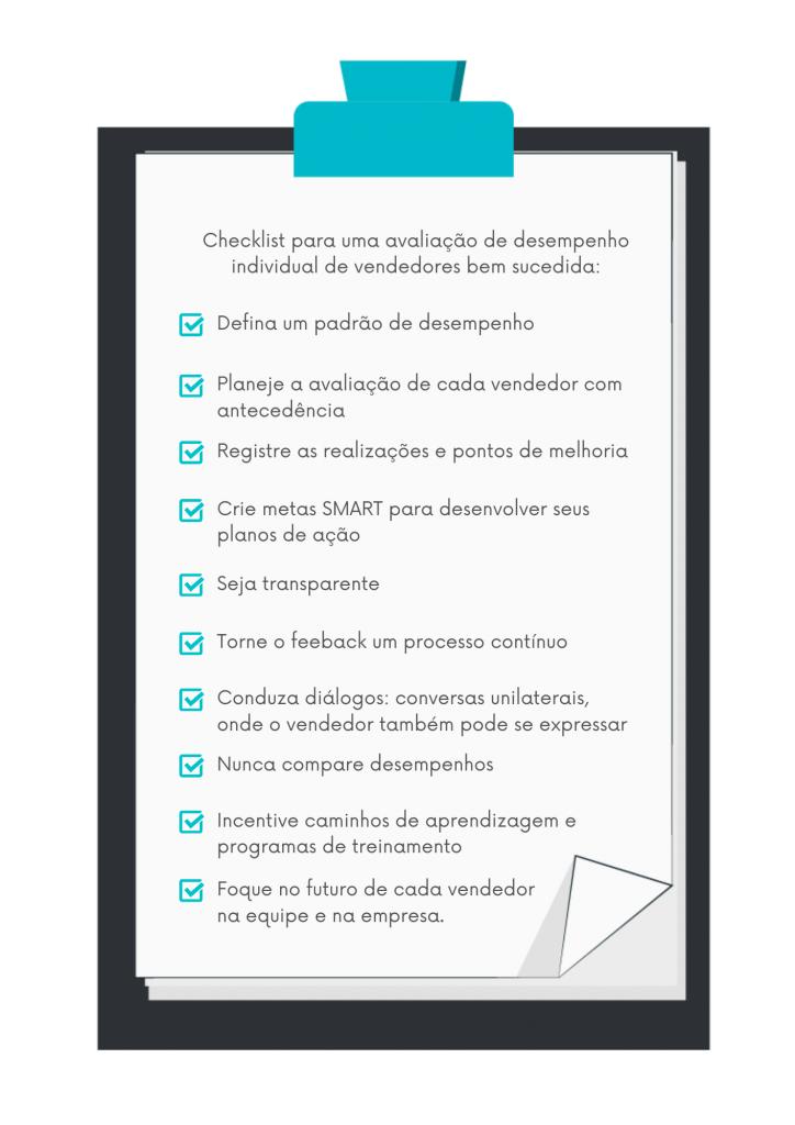 Ao fazer sua avaliação de desempenho individual de vendedores, use este checklist