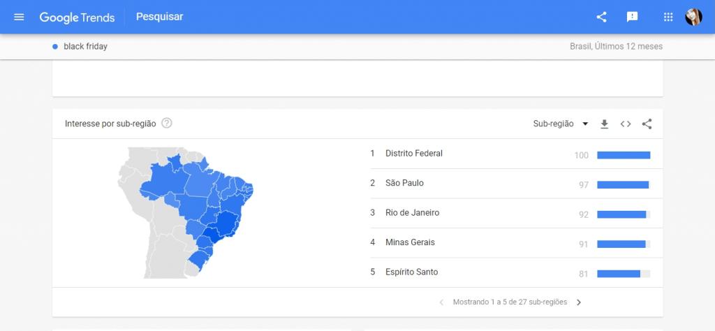 """Estados que mais buscaram pelo termo """"Black Friday"""" no Google"""